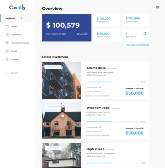 Camly investor - borrower portal dashboard